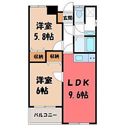 栃木県宇都宮市雀の宮5丁目の賃貸マンションの間取り