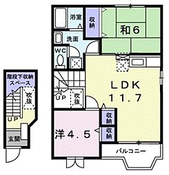 JR高崎線 鴻巣駅 バス16分 久保田下車 徒歩3分の賃貸アパート 2階2LDKの間取り