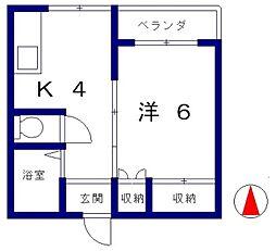 静岡県静岡市駿河区登呂5丁目の賃貸アパートの間取り