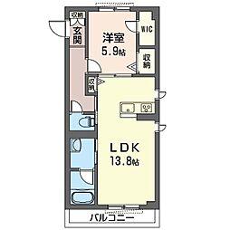 グランレーヴ新都心 1階1LDKの間取り