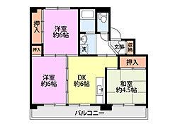 ビレッジハウスひだのもり 2号棟[4階]の間取り