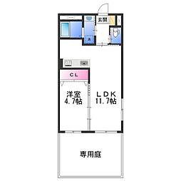 JR阪和線 和歌山駅 徒歩17分の賃貸マンション 1階1LDKの間取り