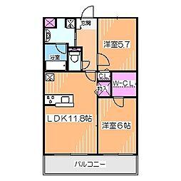 JR阪和線 上野芝駅 徒歩18分の賃貸マンション 1階2LDKの間取り