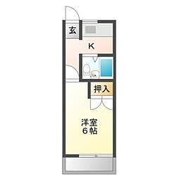 愛知県豊橋市住吉町の賃貸アパートの間取り