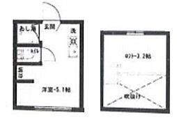アーバンプレイス高円寺V 2階ワンルームの間取り