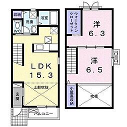 ルスカC 1階2LDKの間取り