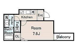 フジパレス今福西II番館 2階1Kの間取り