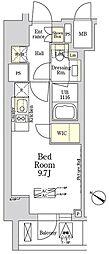 ザ・クラス南麻布 4階ワンルームの間取り