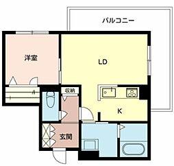 Osaka Metro御堂筋線 なかもず駅 徒歩10分の賃貸マンション 3階1LDKの間取り
