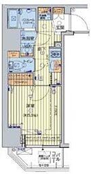 JR山手線 五反田駅 徒歩7分の賃貸マンション 4階1Kの間取り
