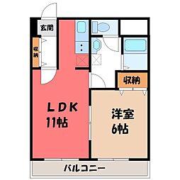 栃木県宇都宮市中今泉2丁目の賃貸マンションの間取り