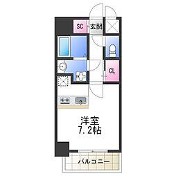 SOAR NAGAI 7階ワンルームの間取り