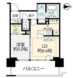 品川イーストシティタワー 9階1LDKの間取り