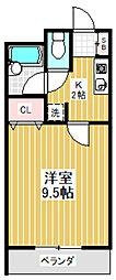 東京都中野区江原町3丁目の賃貸マンションの間取り