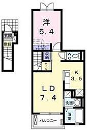 東武越生線 東毛呂駅 徒歩7分の賃貸アパート 2階1LDKの間取り