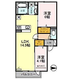 メゾン・ハルモニアW棟 2階2LDKの間取り