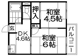 竹島ハイツ[2階]の間取り