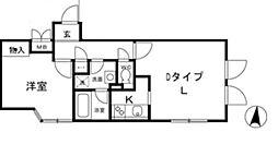 都営大江戸線 春日駅 徒歩10分の賃貸マンション 2階1LDKの間取り