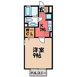 栃木県宇都宮市陽東5丁目の賃貸アパートの間取り