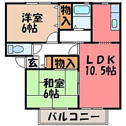 栃木県宇都宮市城南3丁目の賃貸アパートの間取り