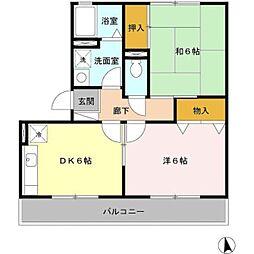 Osaka Metro御堂筋線 なかもず駅 徒歩25分の賃貸アパート 2階2DKの間取り