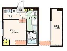 (仮称)梅田5丁目2Bコーポ 1階ワンルームの間取り