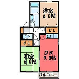 セジュール田村B[1階]の間取り