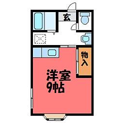 栃木県宇都宮市富士見が丘2丁目の賃貸アパートの間取り
