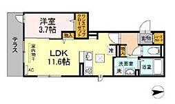 フェリオ箱崎駅前 2階1LDKの間取り