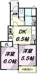 JR五日市線 秋川駅 バス11分 南雨間下車 徒歩2分の賃貸アパート 1階2DKの間取り