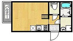 西鉄天神大牟田線 西鉄平尾駅 徒歩8分の賃貸アパート 2階ワンルームの間取り