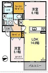 南海高野線 萩原天神駅 徒歩7分の賃貸アパート 3階2LDKの間取り