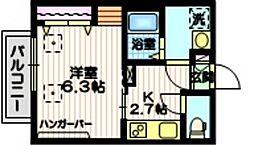 京急本線 北品川駅 徒歩3分の賃貸マンション 2階1Kの間取り