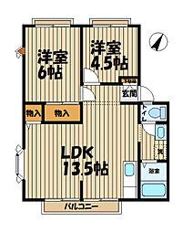 神奈川県横浜市栄区田谷町の賃貸アパートの間取り