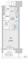JR南武線 武蔵新城駅 徒歩6分の賃貸マンション 11階1Kの間取り