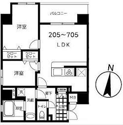 東京メトロ半蔵門線 錦糸町駅 徒歩9分の賃貸マンション 3階2LDKの間取り