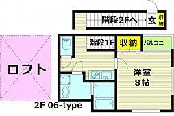 レオン京橋 2階1Kの間取り