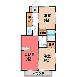 栃木県宇都宮市若松原2丁目の賃貸アパートの間取り