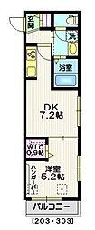 東京メトロ銀座線 外苑前駅 徒歩4分の賃貸マンション 2階1DKの間取り
