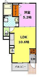 関東鉄道常総線 下妻駅 4.8kmの賃貸アパート 1階1LDKの間取り