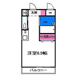 シエテ矢田 1階ワンルームの間取り