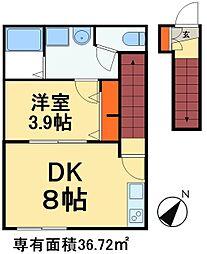 つくばエクスプレス 八潮駅 徒歩15分の賃貸アパート 2階1DKの間取り