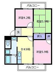 大阪府松原市天美我堂3丁目の賃貸アパートの間取り