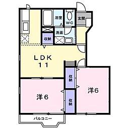 新潟県新潟市東区空港西2丁目の賃貸アパートの間取り