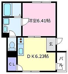 大阪府松原市上田1丁目の賃貸アパートの間取り