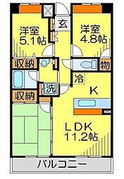 ローブレヴィラ川越 3階3LDKの間取り
