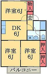 千葉県千葉市緑区おゆみ野有吉の賃貸アパートの間取り