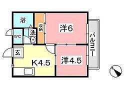 ダックハウス中島B[203号室]の間取り