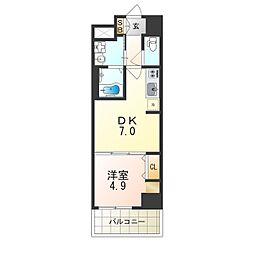 Osaka Metro御堂筋線 昭和町駅 徒歩4分の賃貸マンション 2階1DKの間取り