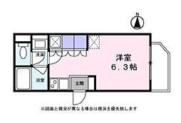 Blanc Ikegami 2階ワンルームの間取り